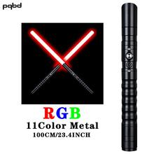 pqbd Lightsaber Metal Handle Heavly Dueling Color Change Laser Sword Flashlight LED Toys for Childildren Gift