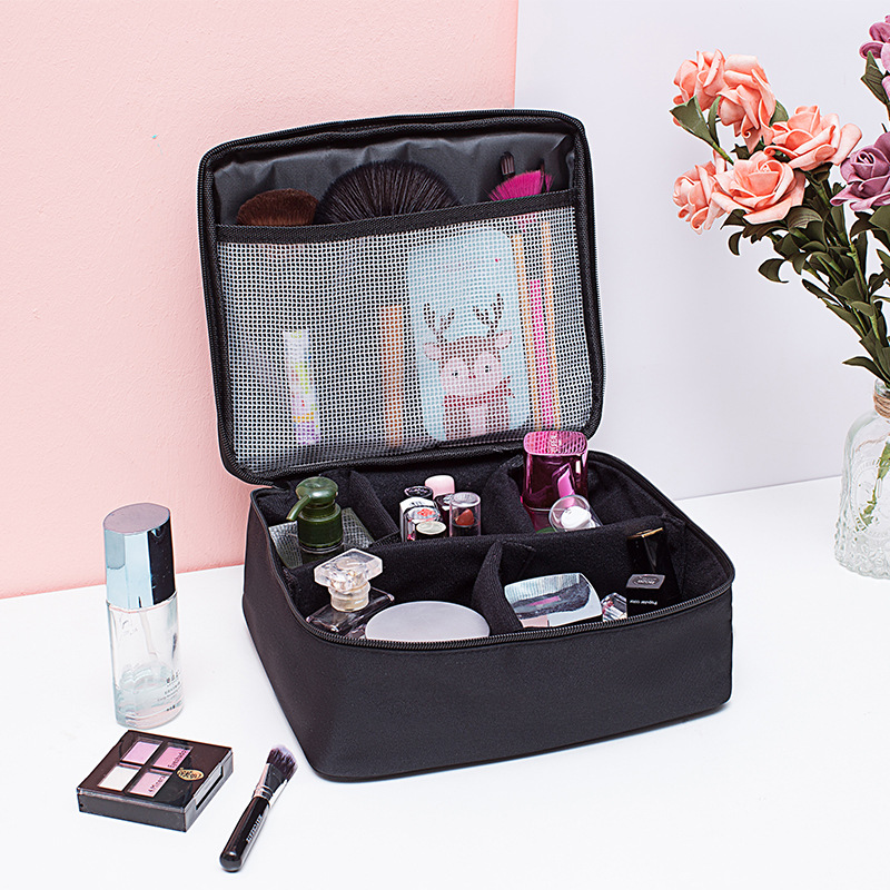 Oxford Cloth Beauty Makeup Organizer Water-proof Cosmetics Box Lipstick Brush Holders Dressing Table Container Cable Charger Bag
