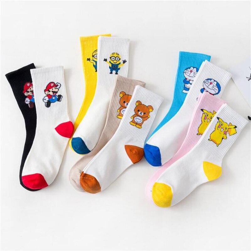 Creative Lovely Women Cotton Socks Casual Cartoon Doraemon Pikachu Super Socks White Autumn Funny Patterned Socks Female Sokken