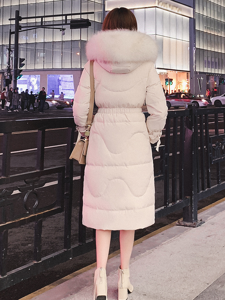Long Winter Down Jacket Women Hooded Big Fur Collar Women Down Coats Jackets Warm Woman Down Parka Korean 2020 KJ3282