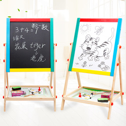 Wooden Color Double-Sided Magnetic Drawing Board Small Blackboard Braced Drawing Board CHILDREN'S Drawing Board Easel Adjustable