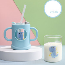 1 set of baby feeding cups, children's silicone microwave oven heated glass cups, baby milk cups with graduated straws