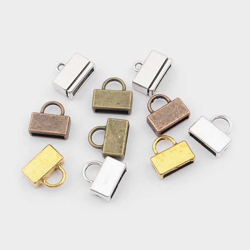 10pcs Antique Silver/Gold/Bronze/Copper Flat End Cap Clasps For 5mm 10mm Flat Leather Cord Bracelet Jewelry Findings Accessories