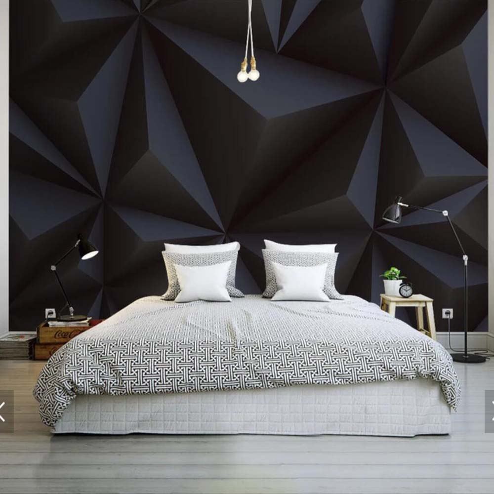 Embossed Abstract Geometric Wall Mural Triangle Black Wallpaper 3D Stereoscopic Wall Art Painting Canvas Prints Home Decor