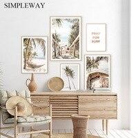 Póster de lienzo de árbol de palma Tropical, impresión artística de pared de viaje, playa, mar, pintura paisaje moderna de verano, imagen de decoración de la habitación