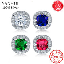YANHUI Luxury Women White/Red/Green/Blue Square Stud Earring With AAA Zircon 925 Solid Silver Double Earrings For Women ED0358(China)