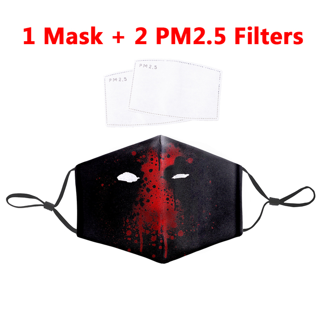 PM2.5 Filter Mouth-Muffle Mask Deadpool Iron Man Printing Anti Bacteria Proof Flu Mouth Mask Reusable Windproof Dust Face Masks