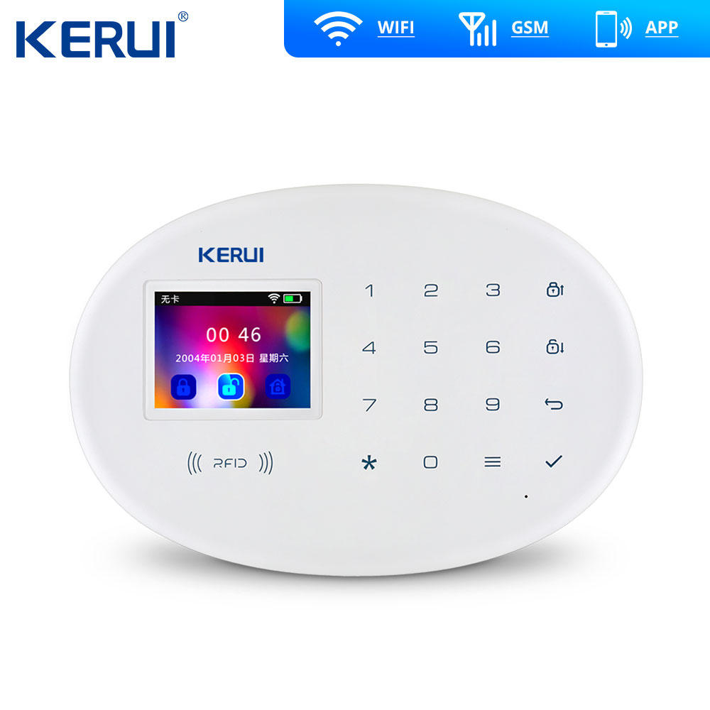 Image 2 - KERUI W20  WIFI GSM Home Alarm System Alarm Security kit Wireless Keypad Rfid Remote Control Solar Siren Keyb-in Alarm System Kits from Security & Protection