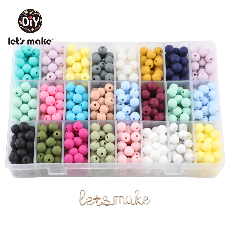9mm 50pc Silicone Beads Round Baby Teether Eco-friendly BPA Free Baby Teething Pacifier Chain Bead silicone rodents Let's Make(China)