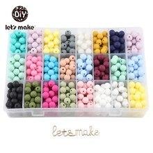 Let's Make – anneau de dentition en Silicone pour bébé, perles rondes, sans BPA, écologique, chaîne de sucette, 9mm, 50 pièces