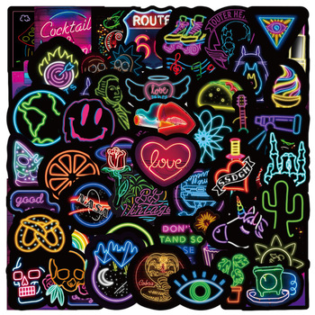 10/50pcs Neon Light Stickers Cool Funny Car Styling Bomb JDM Decals Bike Motorcycle Phone Laptop Travel Animal food Cartoon Toy image