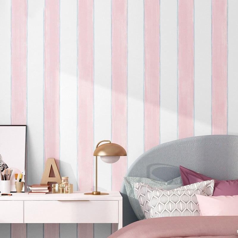 Modern Minimalist Plain Color Stripes Non-woven Wallpaper CHILDREN'S Room Cartoon Pink Boys And Girls Bedroom Environmentally Fr