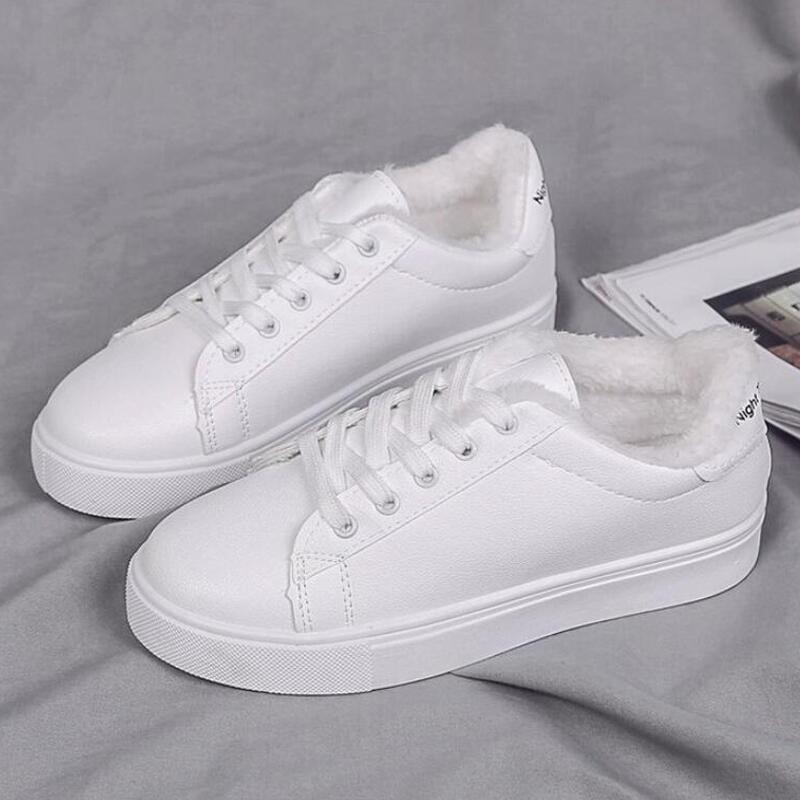Женские кроссовки; зимняя плюшевая теплая женская повседневная обувь; женские модные белые кроссовки; Женская Белая обувь; обувь на