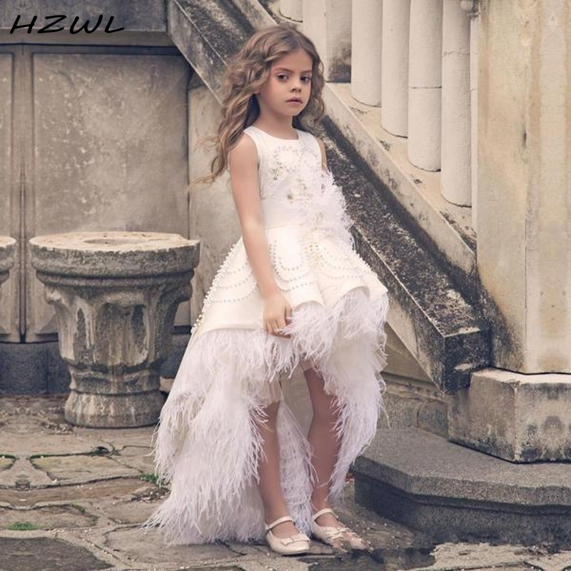 Feather High Low Flower Girls Dresses For Wedding Pearls Beads Appliques Jewel Neckline Girls Pageant Dress  Kids Birthday Gowns