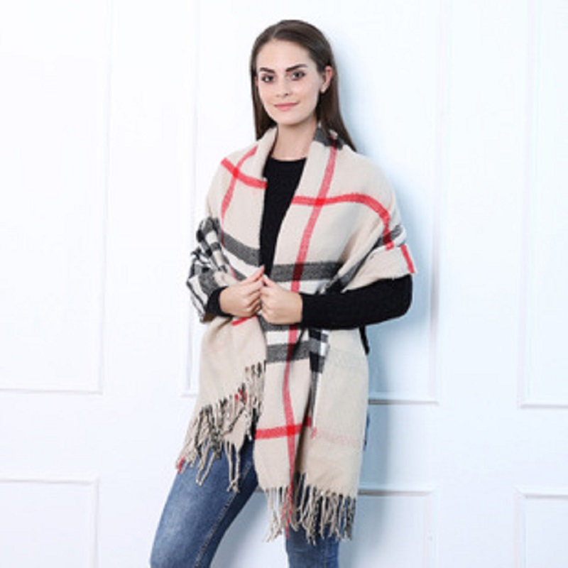 Korean Fashion Long Scarf Shawl Female Autumn And Winter Color Mixed Wild Warm Thick Fringed Scarf