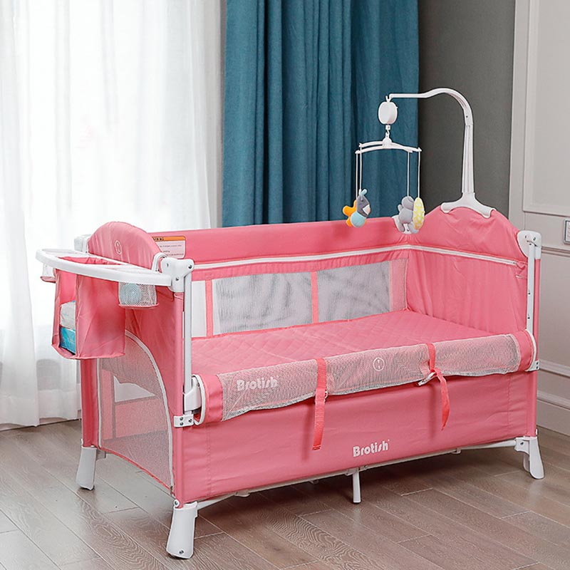 Baby Bed Multifunctional Crib Foldable Hight Adjustable Portable  With Rollers Game Bed Easy To Fold And Travel