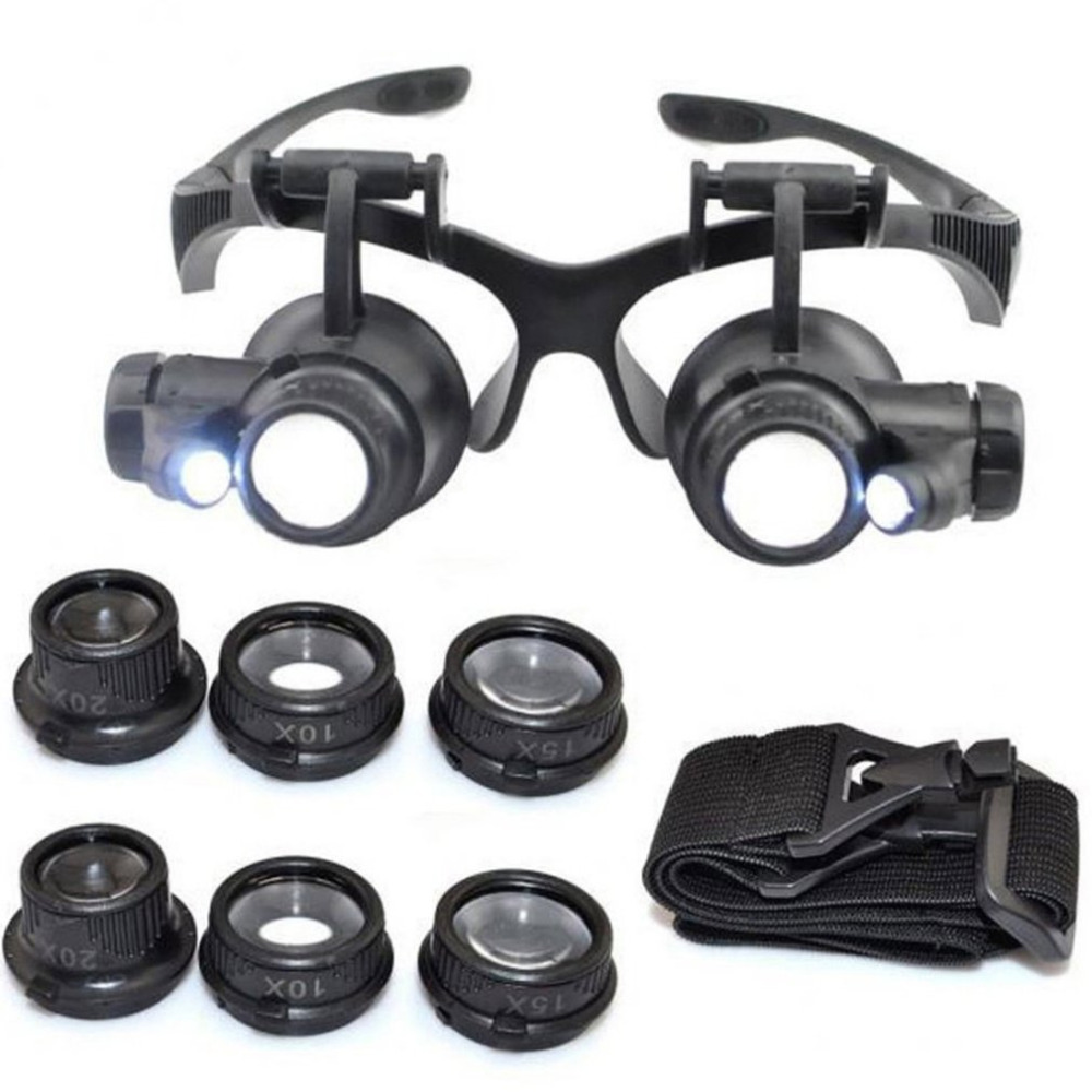 LED Head-Mounted Magnifier Double Eye Glasses Loupe Lens Jeweler Watch Repair Measurement With LED Lamp