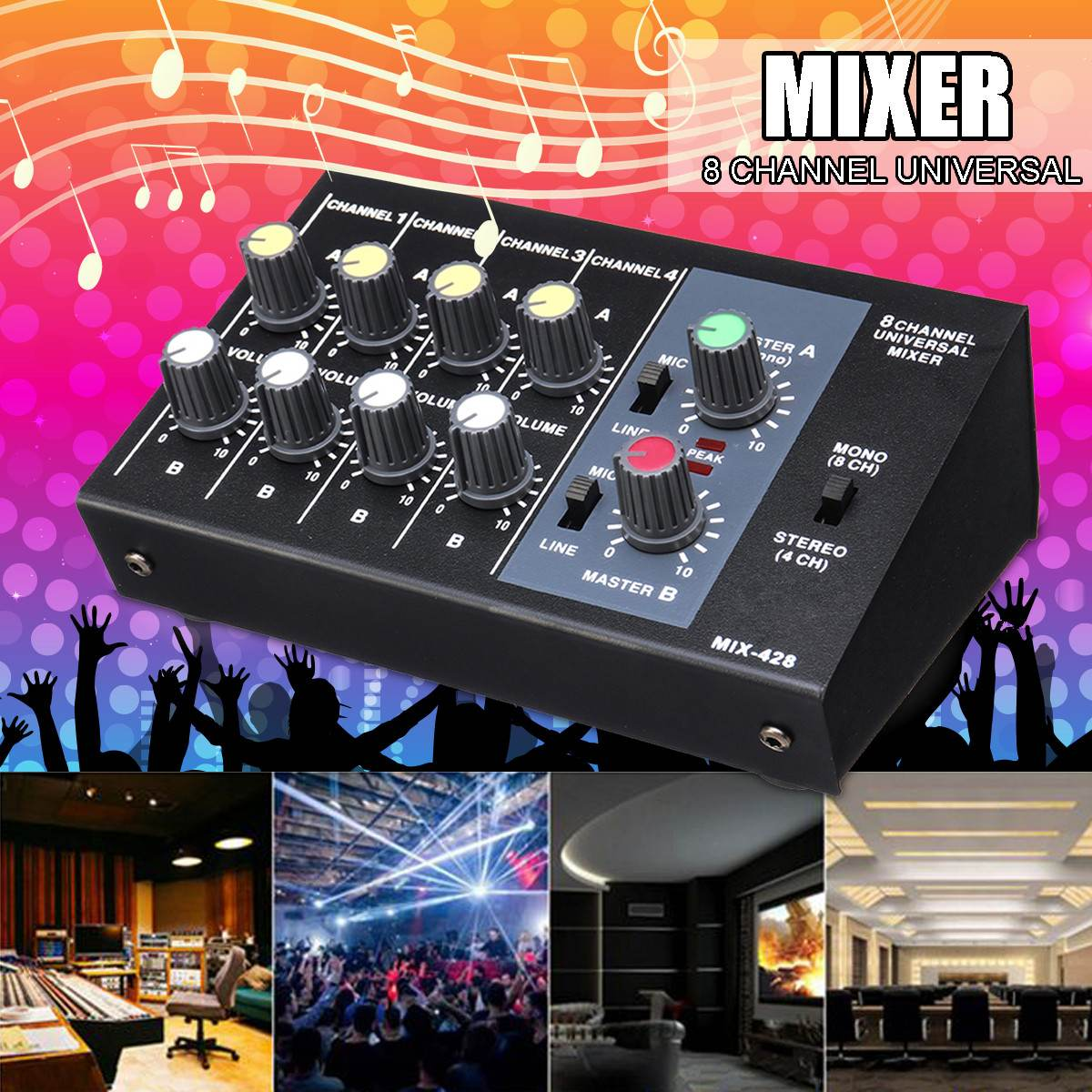 5W 48V Multi-Channel Digital Mixing Console Karaoke Universal Mixer Console Mono/Stereo Microphone Mixer Console Adjusting Panel