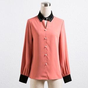 Image 4 - Chiffon Shirt Women Long Sleeve Autumn New Loose Lantern Sleeve Blouse Fashion Temperament Office Ladies Work Uniform