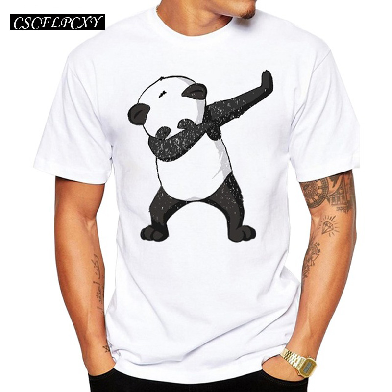 2018 Summer Fashion Dabbing Panda Bear T-Shirt Newest Men Funny Panda T Shirts Short Sleeve Tops Hip Hop TeeCSCFLPCXY