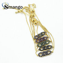 Wholesale 5colors Copper Micro Pave CZ Circle Shape Charm Bracelet In Gold Colors Top Quality Plating of 10 or 5 Pcs,B0086