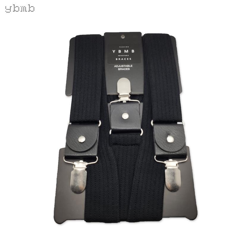 YBMB Fashion Shirt Suspenders 3.5CM  Wide And 120cm Long  Y-Shape 3 PU Duck Buckle  Adjustable Strap