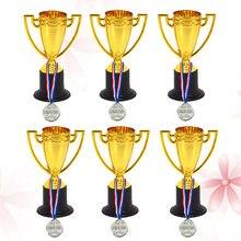 12 adet Mini altın bardak kupa ve ödül madalyaları ödülleri küçük madalya hediye ödülleri Trophy oyuncaklar öğrenciler için spor (6 adet Trophie