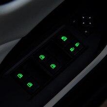 Carro universal janela luminosa adesivo fluorescente interruptor de levantador de vidro botão brilho adesivo fluorescente modificado