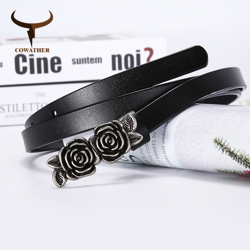 COWATHER New Arrival Women Belt Flower Design Buckle Cow Leather Female Strap Vintage Fashion Women Waistband Free Shipping