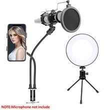 LED Ring Light with 2 in 1 Cellphone Microphone Holder Dimmable Desktop Live Stream Light with Color Temperature 11 Level 2 in 1 cellphone