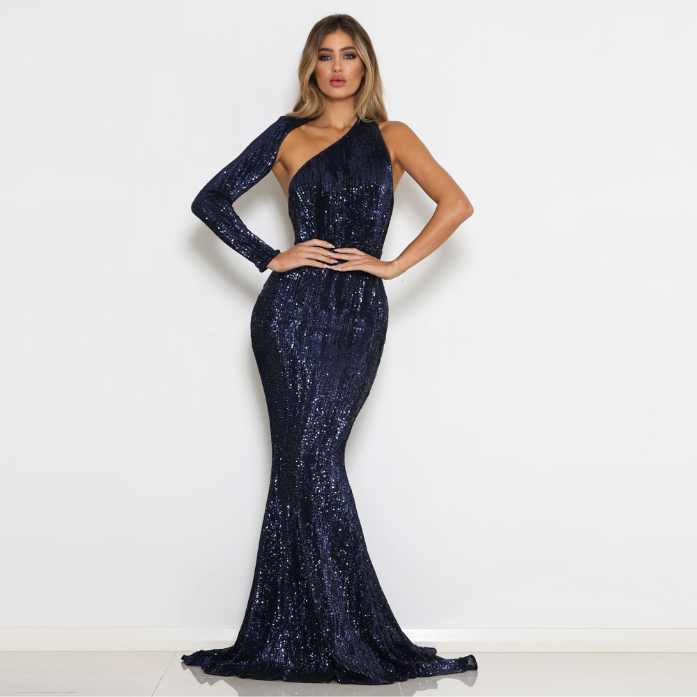 Green Sequined One Shoulder Stretchy Maxi Single Sleeve Evening Party Dress Floor Length Backless Mermaid Dress