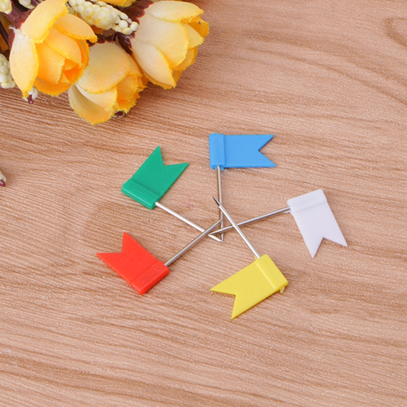 30PCS Flag Marker Shape Map Pins Cork Notice Board Push Pin Assorted Office Home 27RA