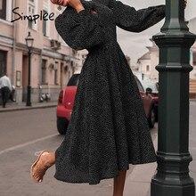 Simplee Elegant polka dot women dress Lantern sleeve office ladies bow tied work long dresses A line female ladies party dresses