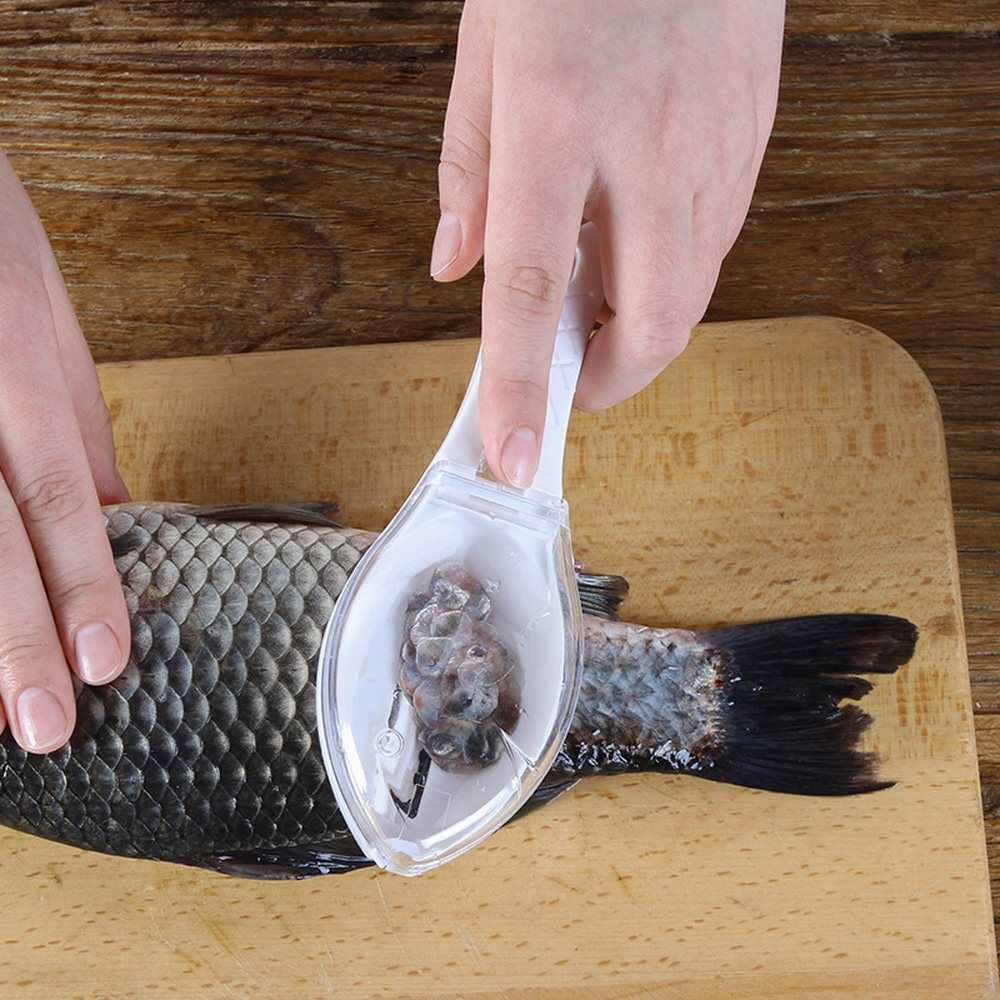 魚スケールブラシスクレーパープラスチック台所の調理ガジェットこするブラシ釣りツールアクセサリーピーラークイック魚皮