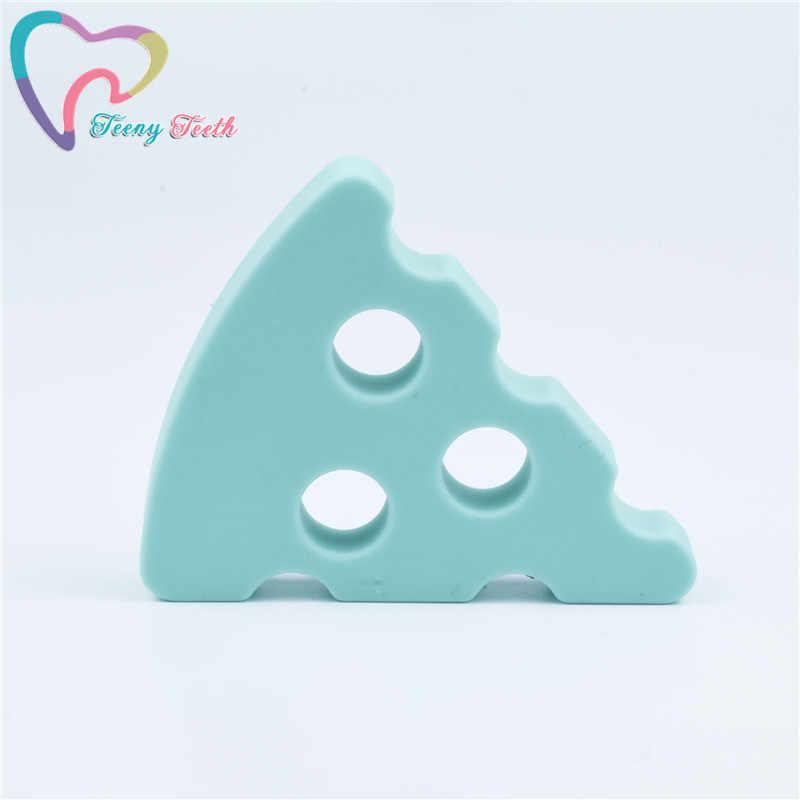 5 sztuk ser gryzaki dla niemowląt silikon bez BPA gryzak Food Grade koraliki dla ząbkującego dziecka naszyjnik DIY Pizza wisiorek cukierkowe kolory