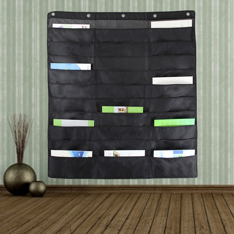 Heavy Duty Storage Pocket Chart With 30 Pockets,5 Over Door Hangers Included   Hanging Wall File Organizer - Organize Your Assig