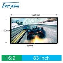 Everycom 83 дюймов 16:9 3D HD настенный проекционный экран холст для домашнего кинотеатра бар клуб дископутешествия поддержка светодиодный DLP проектор