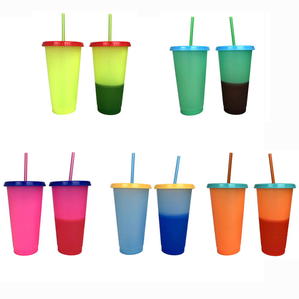 700ML Temperature Change Color Cups Coffee Cup Mug Water Bottles with Straw new 1pc
