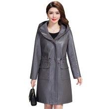 Frauen Mit Kapuze Faux Leder Lange Jacke XL-5XL Neue Damen Gewaschen Leder Graben Mäntel Weibliche Lose Zipper Oberbekleidung Kleidung