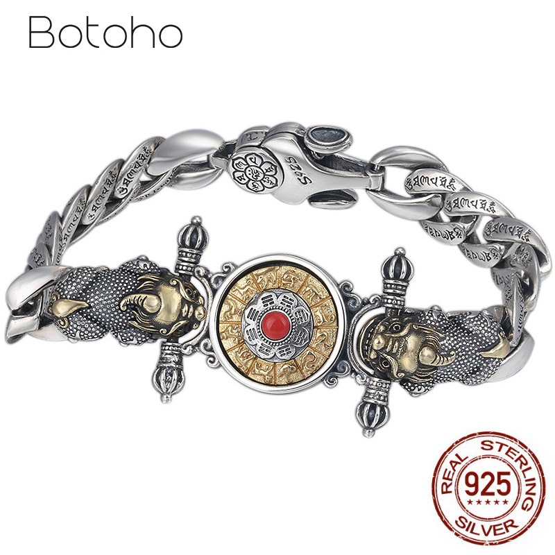 925 Sterling Silver color Buddha Bracelet for men Vajra Zodiac Mantra Lucky brave troops Rotatable Bracelet Bangle Jewelry Gifts