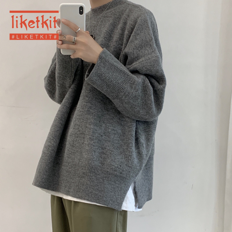 Liketkit Mens Solid Sweater 2020 New Spring O-Neck Oversized Casual Knitted Pullovers Male Split Hem Vintage Streetwear Autumn