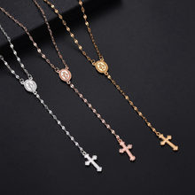 Fashion Cross Pendant Necklace Women Rose Gold Sliver Long Chain Men Necklaces Religious Jewelry(China)