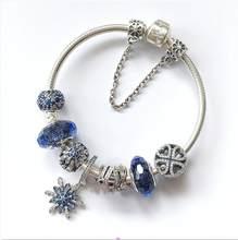 925 prata esterlina floco de neve cristalizado fecho cobra corrente basica pan pulseiras pulseira ajuste feminino granulomas charme