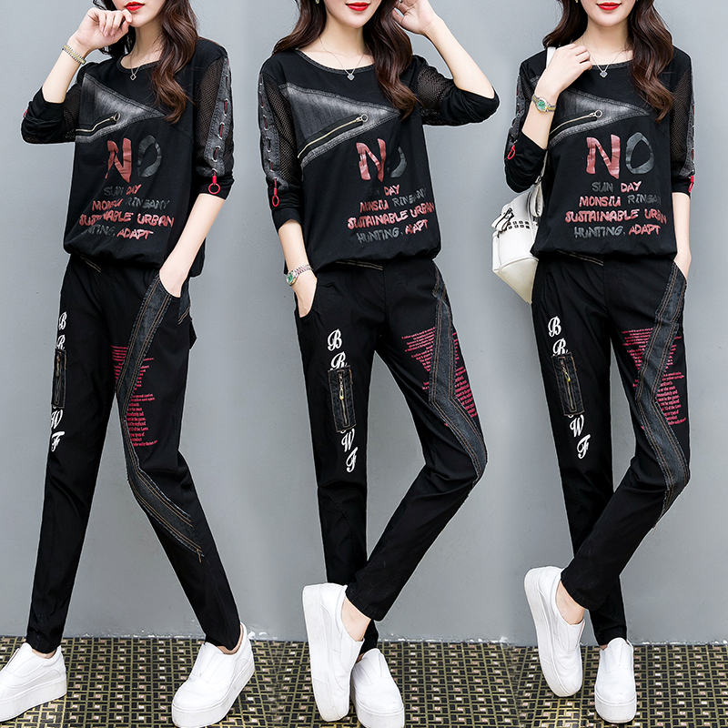 Tracksuit For Women 2019 Autumn Loose Large Size Crop Tops+Denim Pants Suit Female Casual Plus Size Fashion Two Piece Sets M-4XL