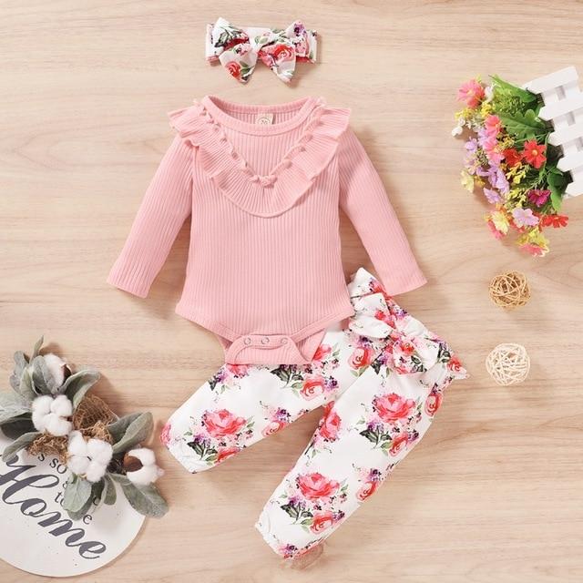 Фото осенний комплект с длинными рукавами для маленьких девочек однотонный
