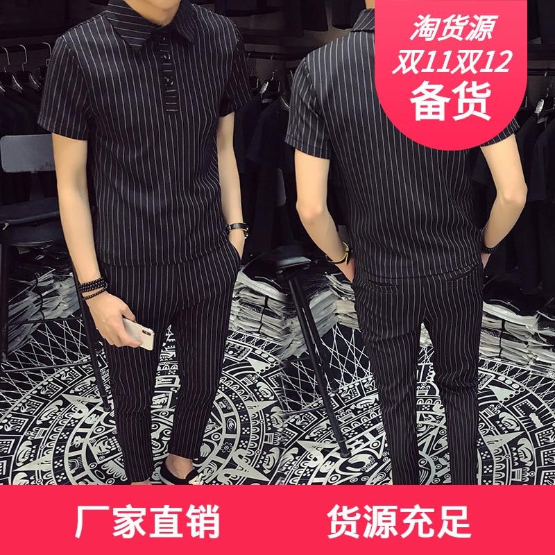 Social Fella Set Men's Summer Korean-style Trend Online Celebrity Slim Fit Stripes Hair Stylist Handsome Casual Two-Piece Set Fa