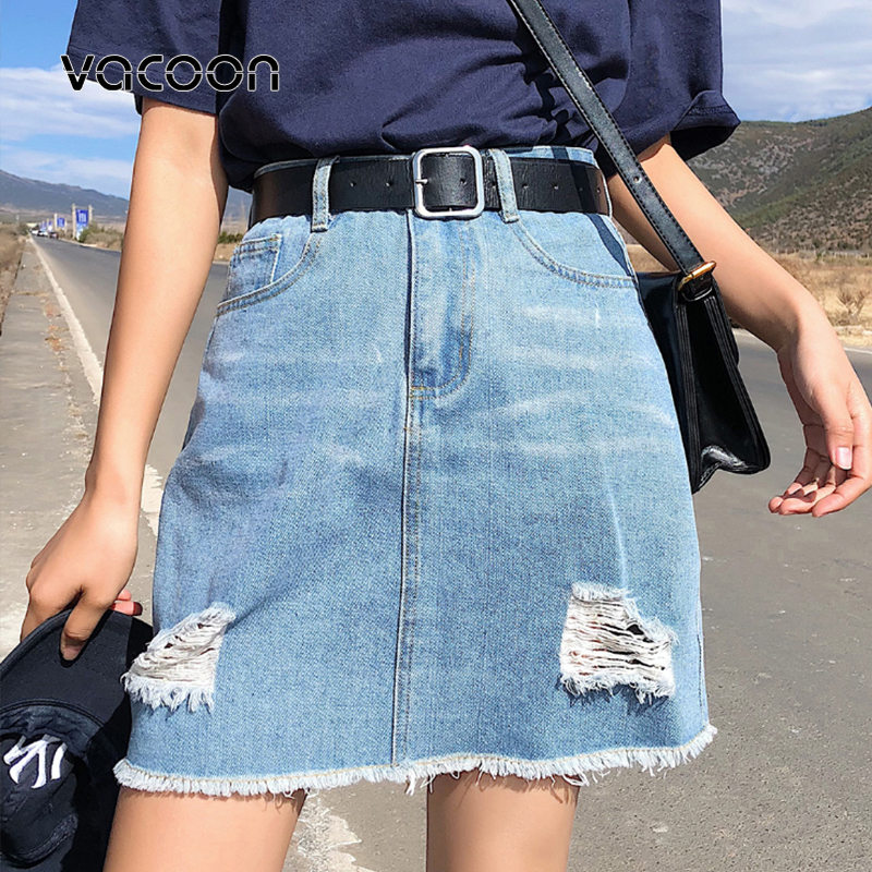 Korean Woman Hole Denim Short Skirt  Plus Size High Waist Fashion Black Blue  Empire Summer Skirts Over Size