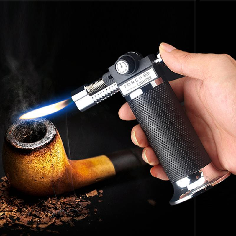 Kitchen Spray Gun Torch Lighter Jet Turbo Outdoor Double Flame Baking BBQ Lighter Windproof Camping Butane Gas Cigar Lighter image