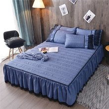 European Luxury Bedspreads and 2PCS Pillowcase Thick Cotton Bed Skirt with Lace Edge Twin Queen King Size Bedding Set Non slip