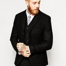Groom Wear Jacket Wedding-Suit Tweed Black Vest Pants Party-Suit Herringbone-Pattern